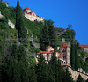 view of old Mystras (Moni Pandanassas) from hotel balcony in modern Mystras
